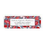 Cute Festive Red Illustrations Christmas Pattern Label