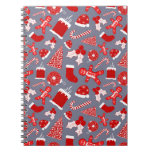 Cute Festive Red Illustrations Christmas Pattern Notebook