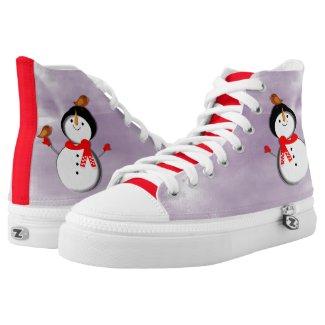 Cute Festive Snowman Design Printed Shoes