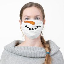 Cute festive snowman winter adult cloth face mask