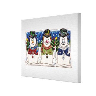 Cute Festive Snowmen Canvas Print