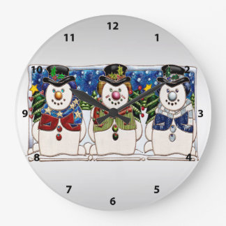 Cute Festive Snowmen Large Clock