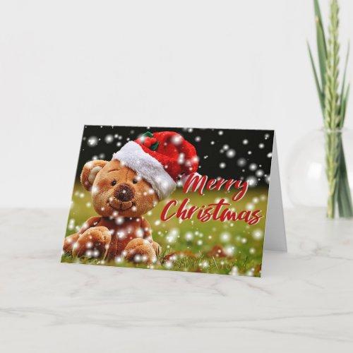 Cute Festive Teddy Merry Christmas New Year Card