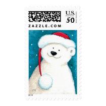 Cute Festive Xmas Polar Bear - Medium Postage