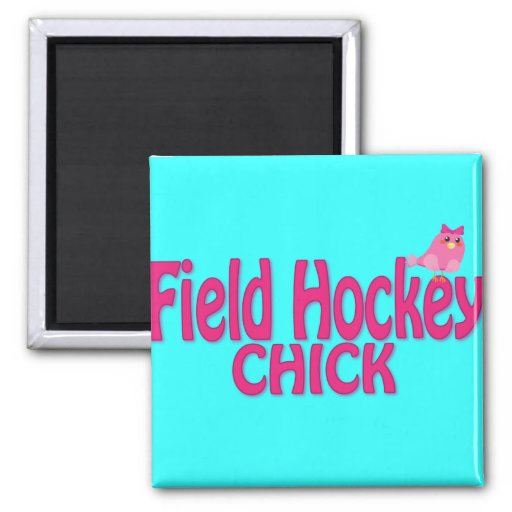 Cute Field Hockey Chick Designs 2 Inch Square Magnet