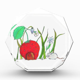cute field mouse and big red strawberry house acrylic award