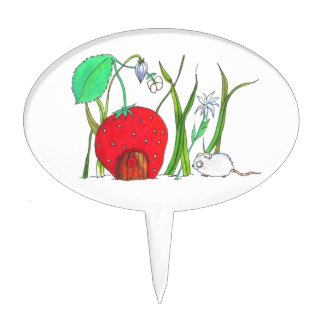 cute field mouse and big red strawberry house oval cake picks