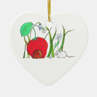 cute field mouse and big red strawberry house ceramic ornament