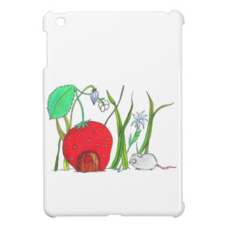 cute field mouse and big red strawberry house iPad mini covers