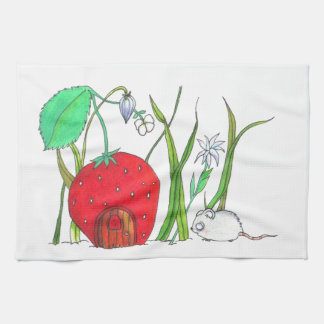 cute field mouse and big red strawberry house kitchen towels