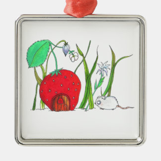 cute field mouse and big red strawberry house metal ornament