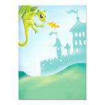 cute fiery dragon and castle scene 5x7 paper invitation card