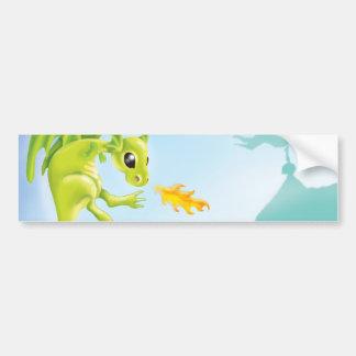 cute fiery dragon and castle scene bumper sticker