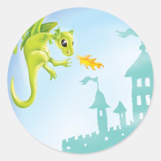 cute fiery dragon and castle scene classic round sticker