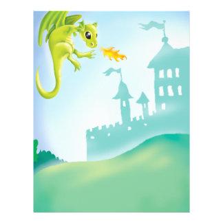 cute fiery dragon and castle scene flyer