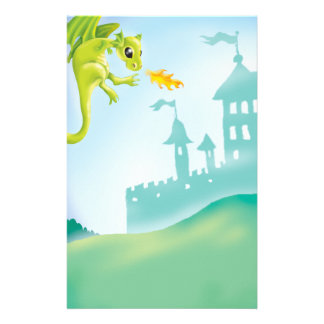 cute fiery dragon and castle scene stationery