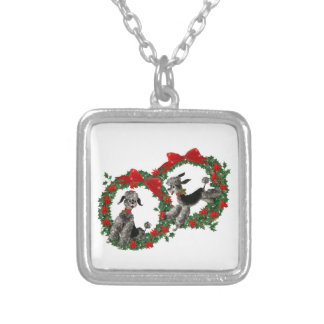 Cute Fifties Style Poodles in Christmas Wreaths Silver Plated Necklace