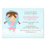 "Cute Figure Skater Birthday 5"" X 7"" Invitation Card"