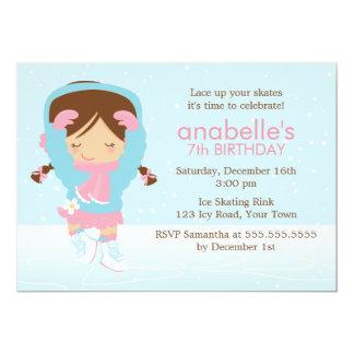 Cute Figure Skater Birthday 5x7 Paper Invitation Card