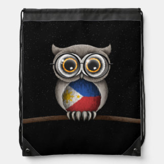 Cute Filipino Flag Owl Wearing Glasses Drawstring Backpack