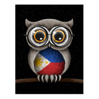 Cute Filipino Flag Owl Wearing Glasses Postcard