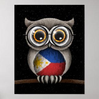Cute Filipino Flag Owl Wearing Glasses Poster