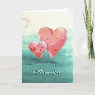 Cute Fine Art Love Hearts - I Miss You Cards