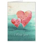 Cute Fine Art Love Hearts - I Miss You Greeting Card