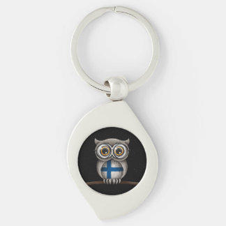 Cute Finnish Flag Owl Wearing Glasses Keychain
