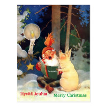 Cute Finnish Tomte or Haltija Gnome & Pig Singing Postcard