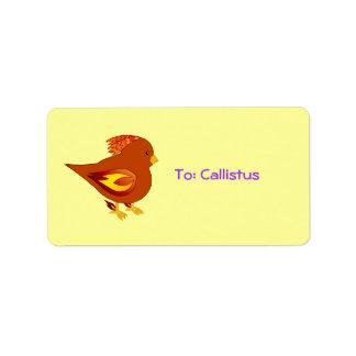 cute fire bird label