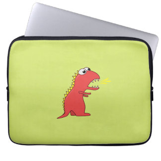 Cute Fire Breath Cartoon T-Rex Dinosaur Kids 13in Computer Sleeve