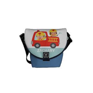 Cute Fire fighter Boy and Dog Fire Truck Bag