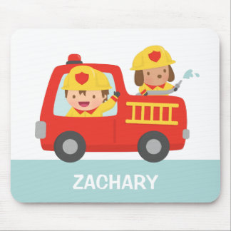 Cute Fire fighter Boy and Dog Fire Truck Mousepad