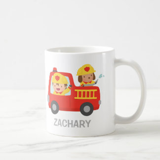 Cute Fire fighter Boy and Dog in Red Fire Truck Coffee Mug