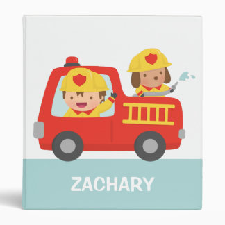 Cute Fire fighter Boy and Dog in Red Fire Trunk Binders