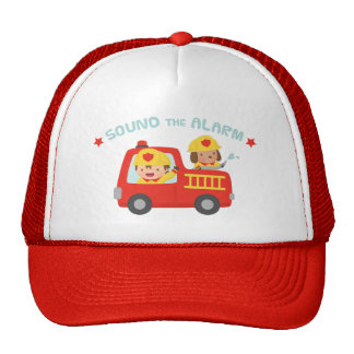 Cute Fire fighter Boy and Dog in Red Fire Trunk Trucker Hat