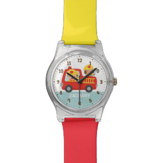 Cute Fire fighter Boy and Dog in Red Fire Trunk Watch