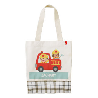 Cute Fire fighter Boy and Dog in Red Fire Trunk Zazzle HEART Tote Bag