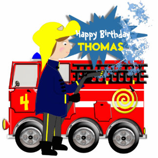 Cute Fire Fighter Truck Theme Cartoon Cutout