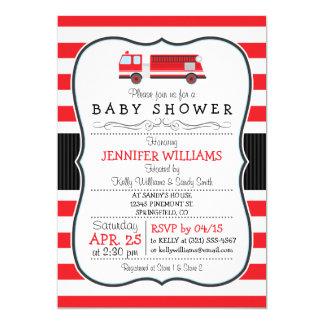 Cute Fire Truck Baby Shower Invitation