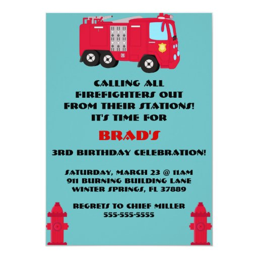 Fire Engine Invitations with best invitations template