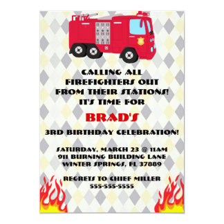 "Cute Fire Truck Engine Birthday Party Invitation 5"" X 7"" Invitation Card"