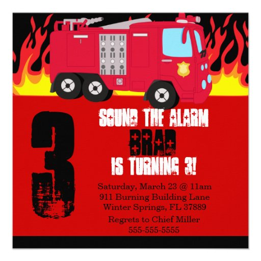 Personalized Firefighter Invitations – Fire Engine Party Invitations