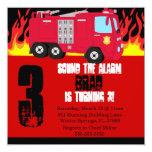 """Cute Fire Truck Engine Birthday Party Invitation 5.25"""" Square Invitation Card"""