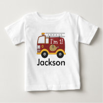 Cute Fire Truck Kids Birthday Personalized Baby T-Shirt