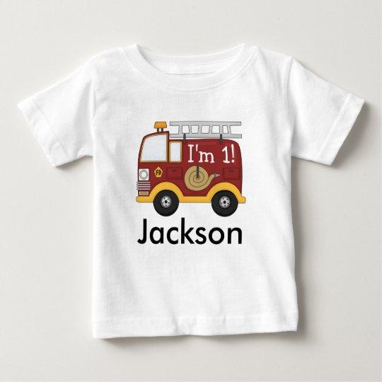 8feb8c63c39c Cute Fire Truck Kids Birthday Personalized Baby T-Shirt | Zazzle.com