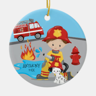 Cute Firefighter Brunette Boy Christmas Ceramic Ornament