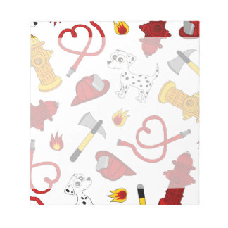 Cute Firefighter Love Print Notepad