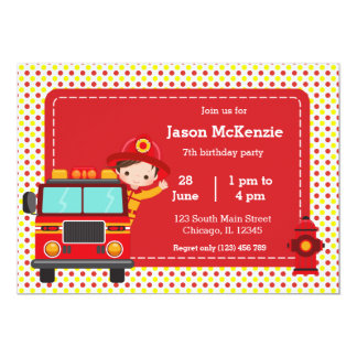 Cute Firefighter party Card